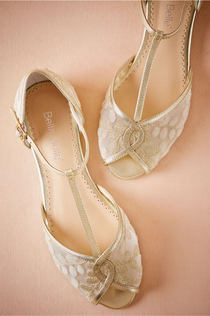 Bhldn Maisie Embroidered T Straps Shoes Post