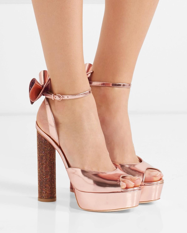 a9b0c825cc1 SOPHIA WEBSTER Raye bow-embellished metallic leather platform sandals
