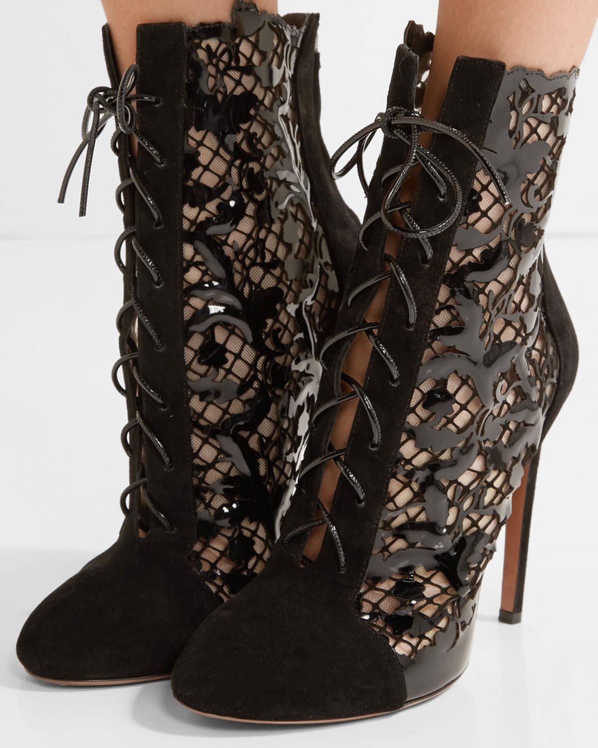 Ala 207 A Laser Cut Suede And Patent Leather Ankle Boots