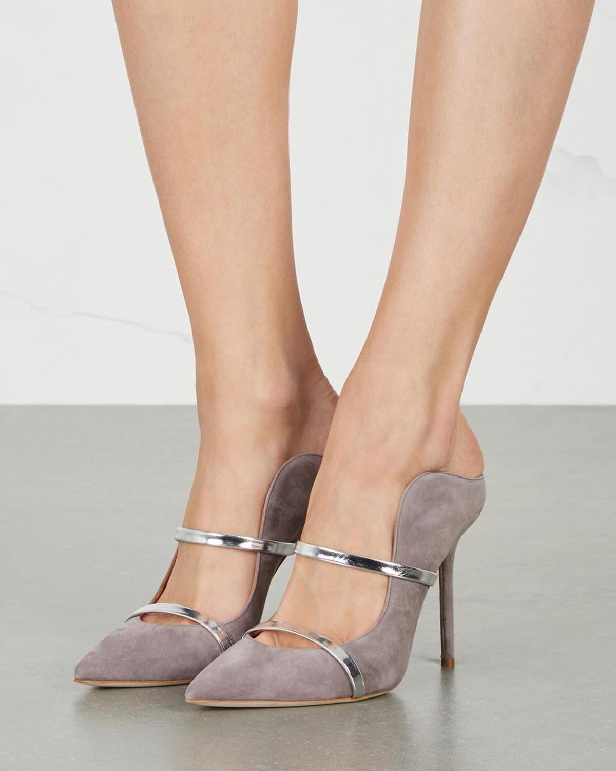 MALONE SOULIERS Maureen grey suede mules - Shoes Post Almond