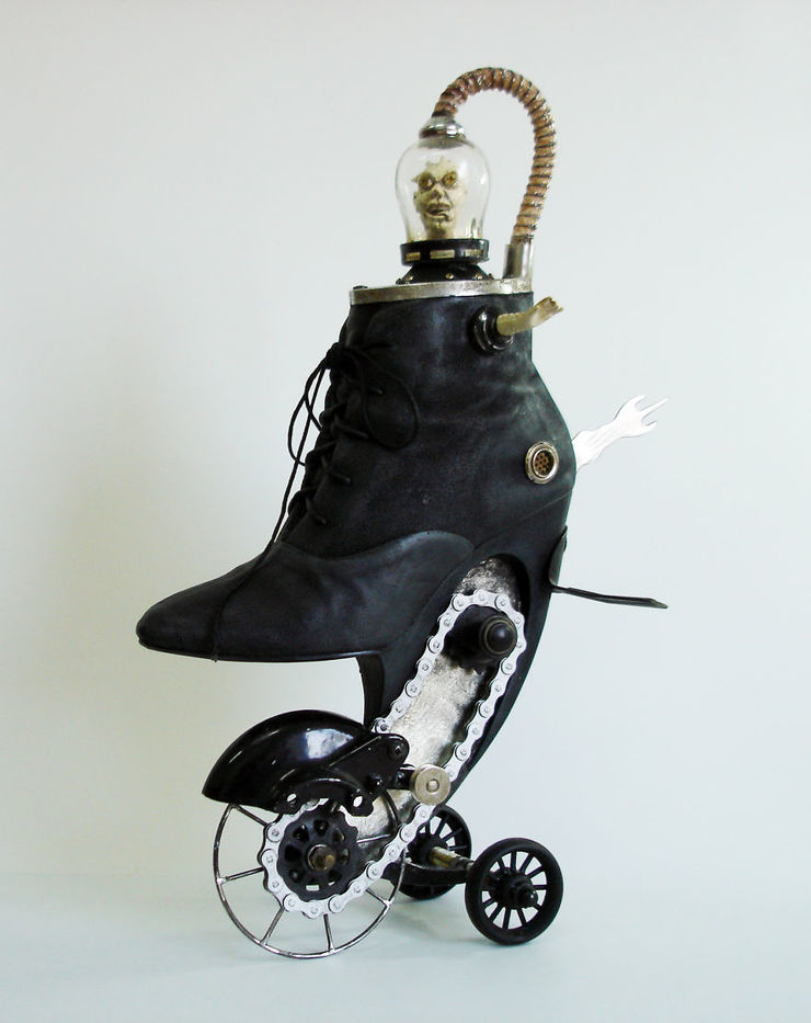 victorian steampunk shoe sculptures by costa magarakis