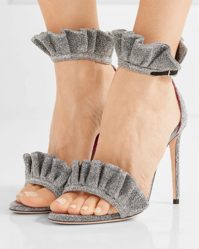 Oscar Tiye Antoinette Ruffle Trimmed Textured Lam 233 Sandals