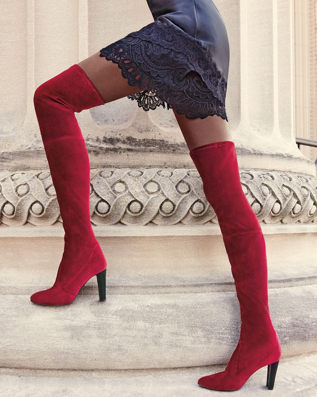 Stuart Weitzman Alllegs Velvet Over-the-Knee Boot, Scarlet