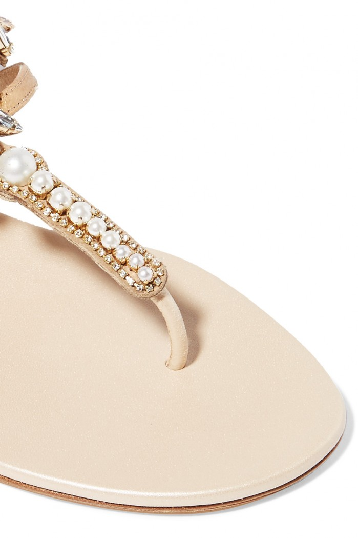 Ren 201 Caovilla Faux Pearl And Crystal Embellished Leather
