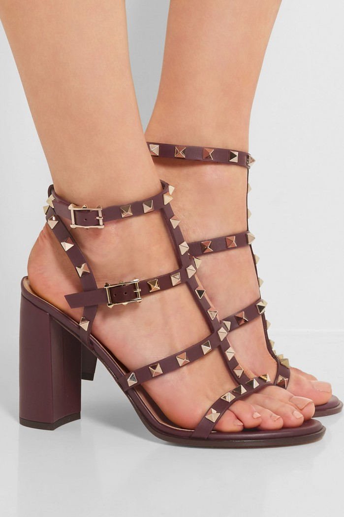 Valentino The Rockstud Embellished Leather Sandals Shoes