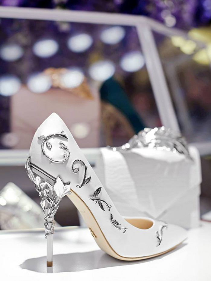 854d7df93dac4 Ralph   Russo EDEN PUMP WHITE SATIN WITH SILVER LEAVES - Shoes Post