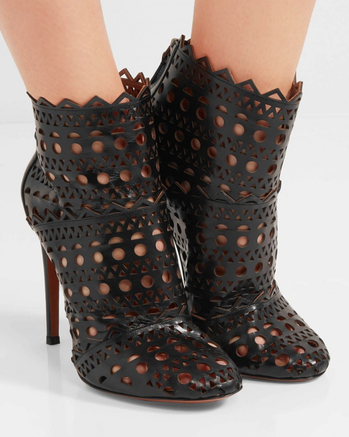 Ala 207 A Laser Cut Leather Ankle Boots Shoes Post