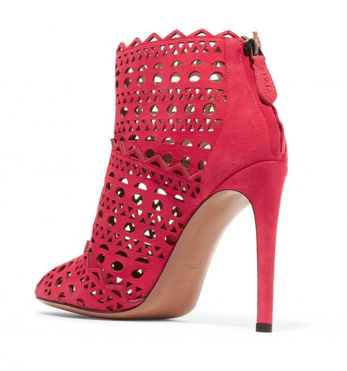 Ala 207 A Laser Cut Suede Ankle Boots Shoes Post