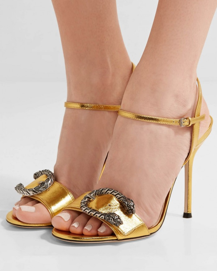 d6bd4935592 GUCCI Dionysus metallic leather sandals - Shoes Post
