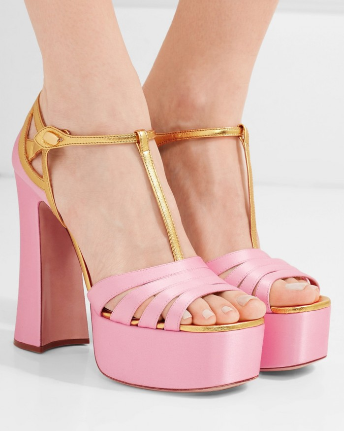 8884f334e9f MIU MIU Metallic leather-trimmed satin platform sandals - Shoes Post