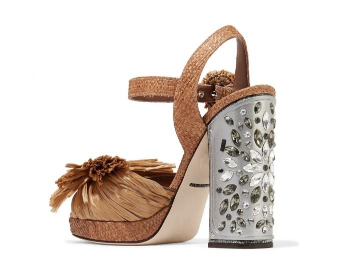 4016fc82a39b DOLCE   GABBANA Embellished raffia platform sandals - Shoes Post