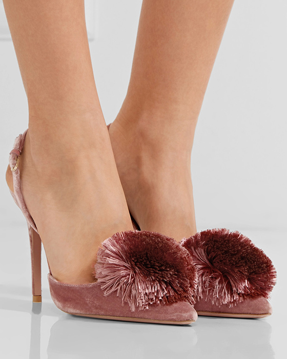 01f8f3ca7d AQUAZZURA Powder Puff pompom-embellished velvet pumps - Shoes Post