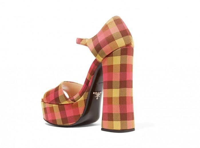 6a25e364039 PRADA Checked canvas platform sandals - Shoes Post