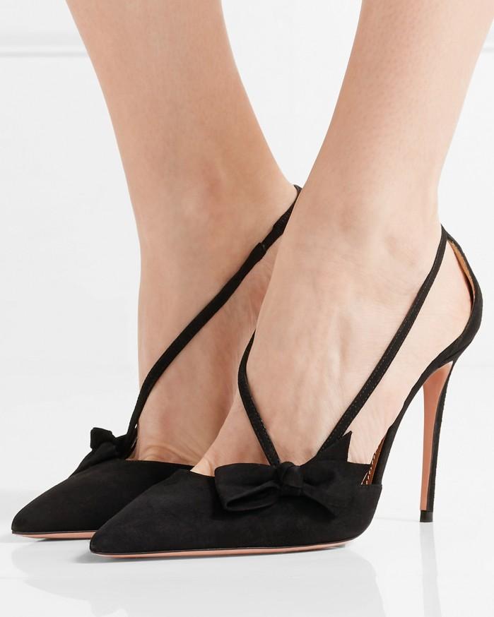 Aquazzura Parisienne Bow Embellished Suede Pumps Shoes Post