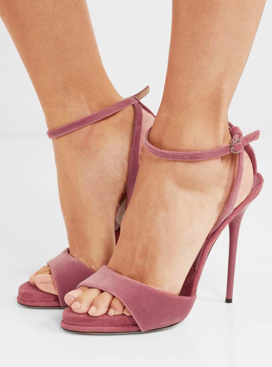 Paul Andrew Clara Velvet Sandals Shoes Post