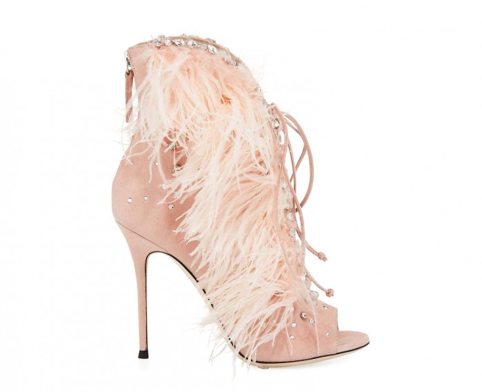 Giuseppe Zanotti Jeweled Feather Suede Lace-Up Bootie PyT873dBBP
