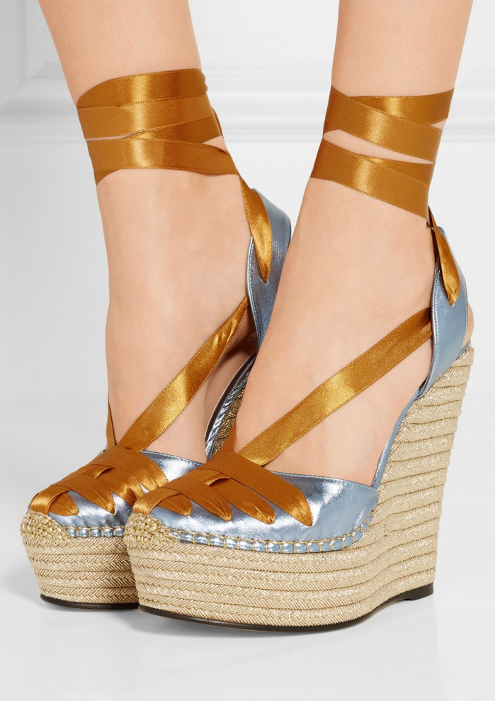 5d0a3c3ad4c2 GUCCI Metallic leather and satin espadrille wedge sandals - Shoes Post