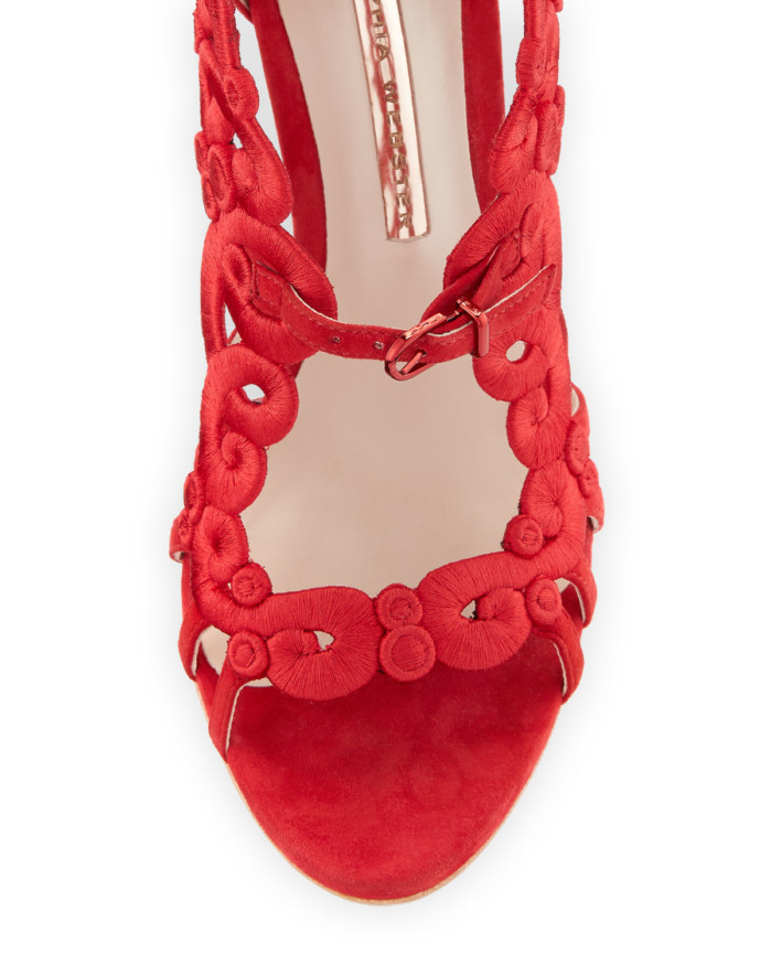 Sophia Webster Albany Embroidered Pin-Heel Suede Sandal