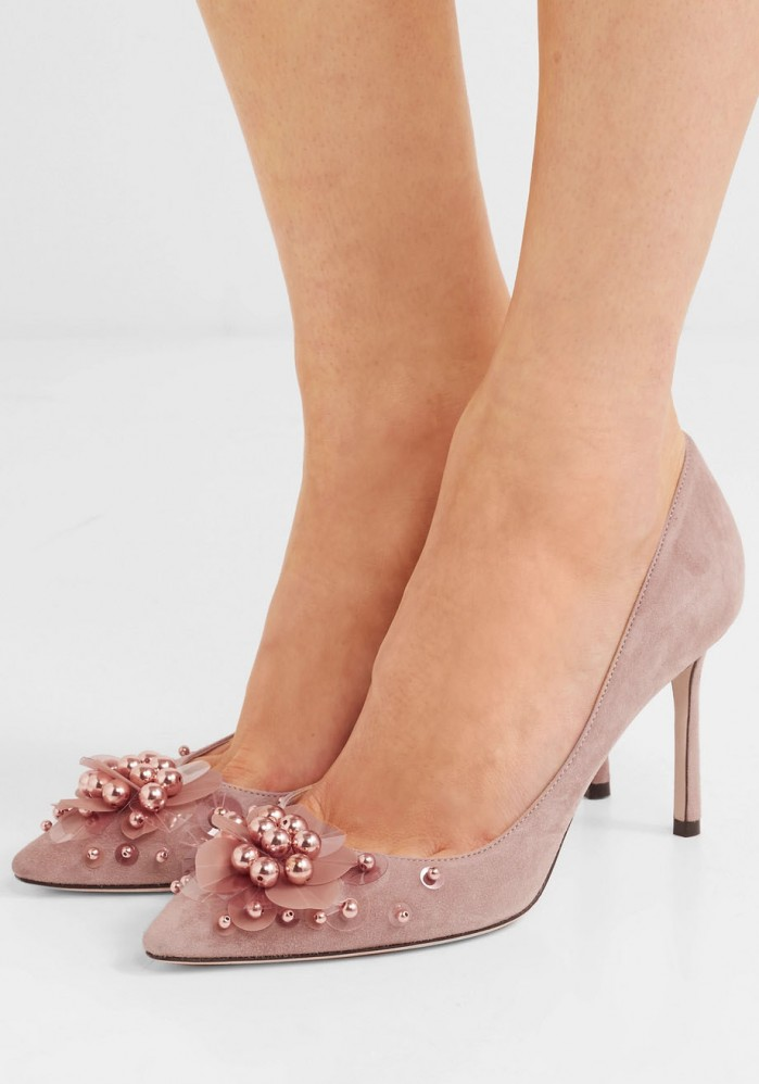 39522ea4f JIMMY CHOO Romy 85 embellished suede pumps - Shoes Post