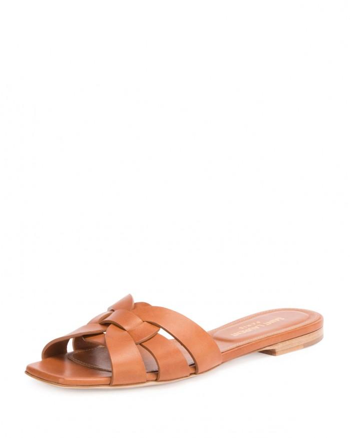 Saint Laurent Woven Leather Sandal Slide Shoes Post