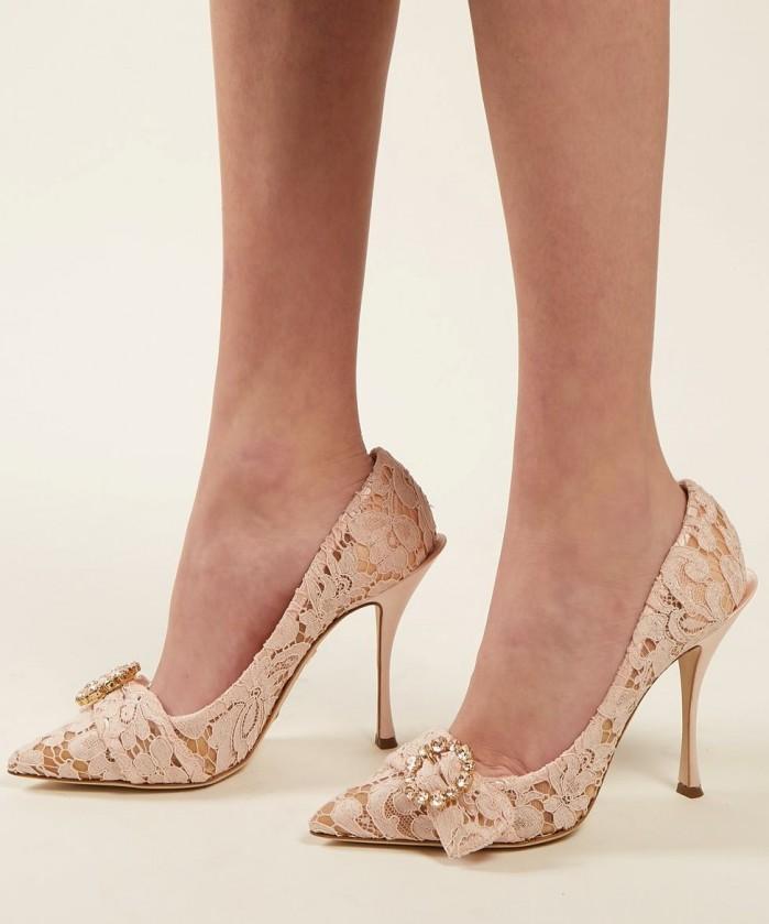 47806dc3ef42 DOLCE   GABBANA Bellucci crystal-embellished lace pumps - Shoes Post
