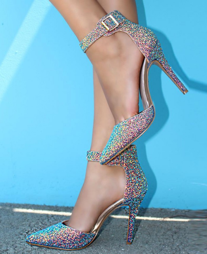 79014e7dc35d AMI Clubwear Sexy Rose Gold Sequin Ankle Strap Pointy Toe Single Sole High  Heels