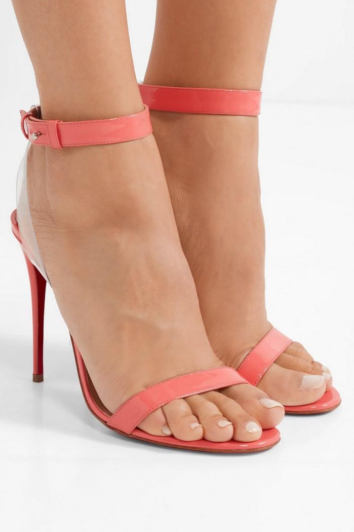 367a418d64b CHRISTIAN LOUBOUTIN Jonatina 100 PVC-trimmed patent-leather sandals ...