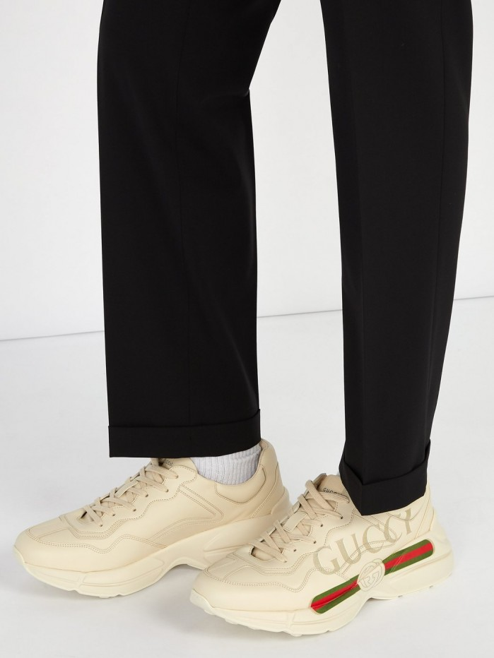 GUCCI Rhyton logo,print low,top leather trainers , Shoes Post
