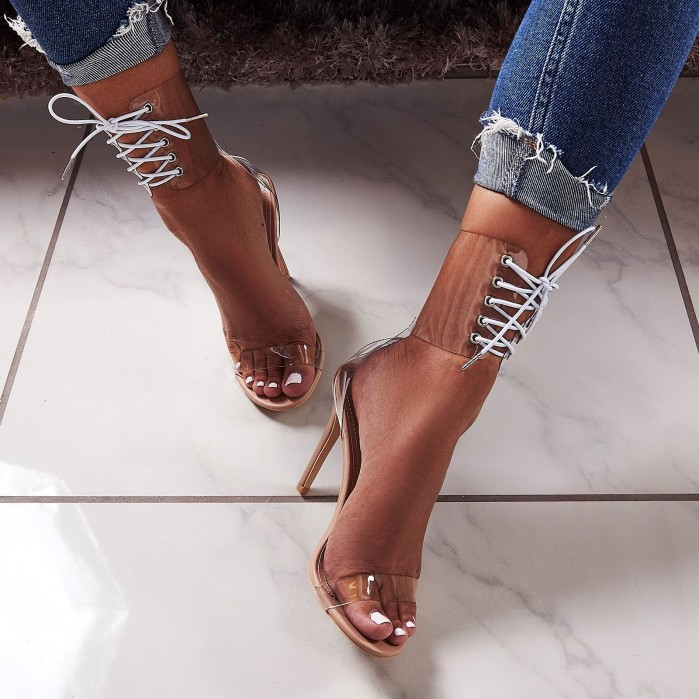 b0edfd57d21 EGO Passion Lace Up Perspex Heel In Nude Patent - Shoes Post