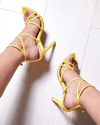 0332040eeb4d EGO Kaia Pointed Barely There Heel In Yellow Patent