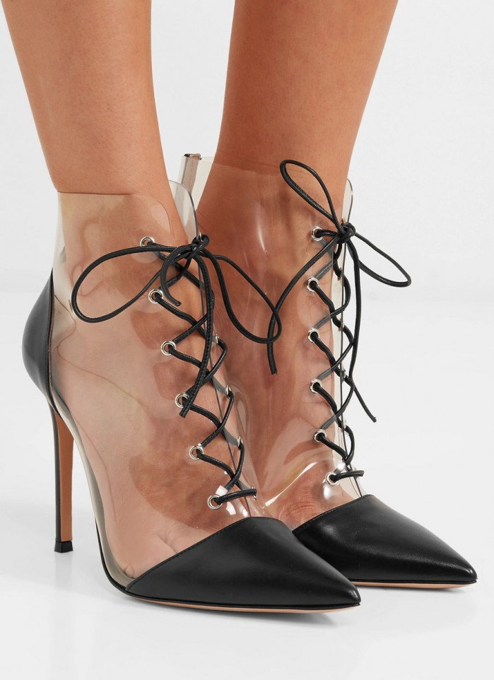 a7c62951c48 GIANVITO ROSSI 105 lace-up PVC and leather ankle boots - Shoes Post