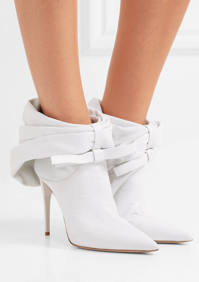 69e8878c384 MIU MIU Bow-embellished leather ankle boots - Shoes Post