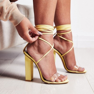75acf840eea EGO Bello Perspex Lace Up Block Heel In Lemon Yellow Faux Suede