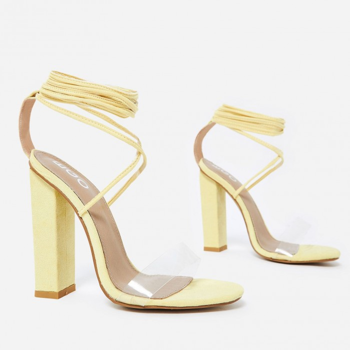 a4f08376d50 EGO Bello Perspex Lace Up Block Heel In Lemon Yellow Faux Suede ...