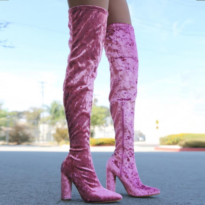 9ff4896eced51 Sexy Dusty Rose Thigh High Boots Circle Chunky Heel Crushed Velvet ...