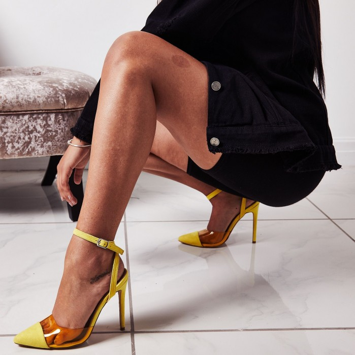 9f2fb28b95f EGO Frankie Coloured Perspex Heel In Yellow Faux Suede - Shoes Post