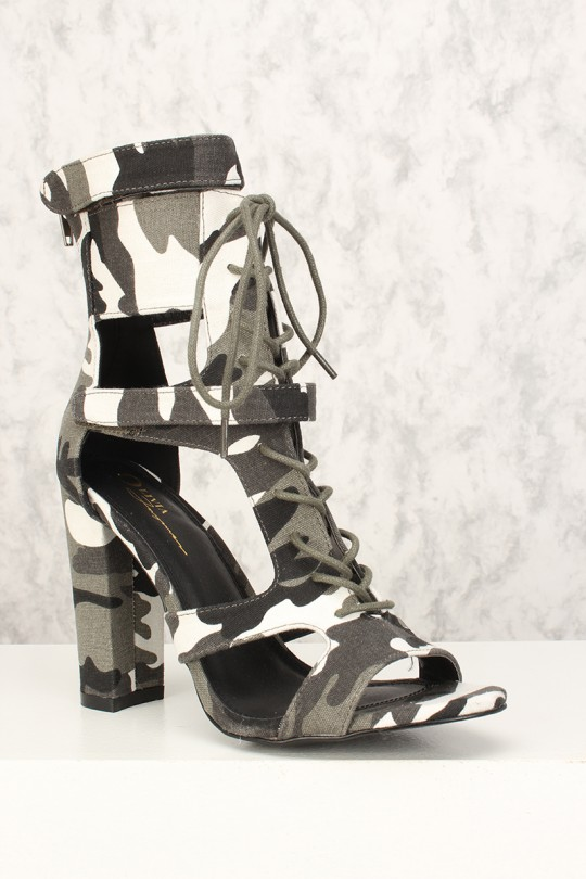 5f03d931cdee3 Sexy Black White Camouflage Strappy Front Lace Up Chunky Heel Booties