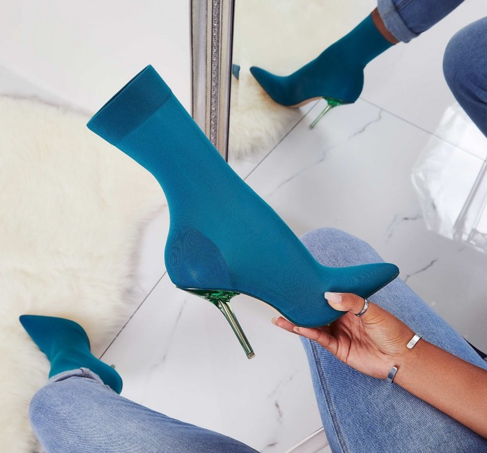 b9aef49fdde EGO Doll Perspex Ankle Sock Boot In Teal Knit - Shoes Post