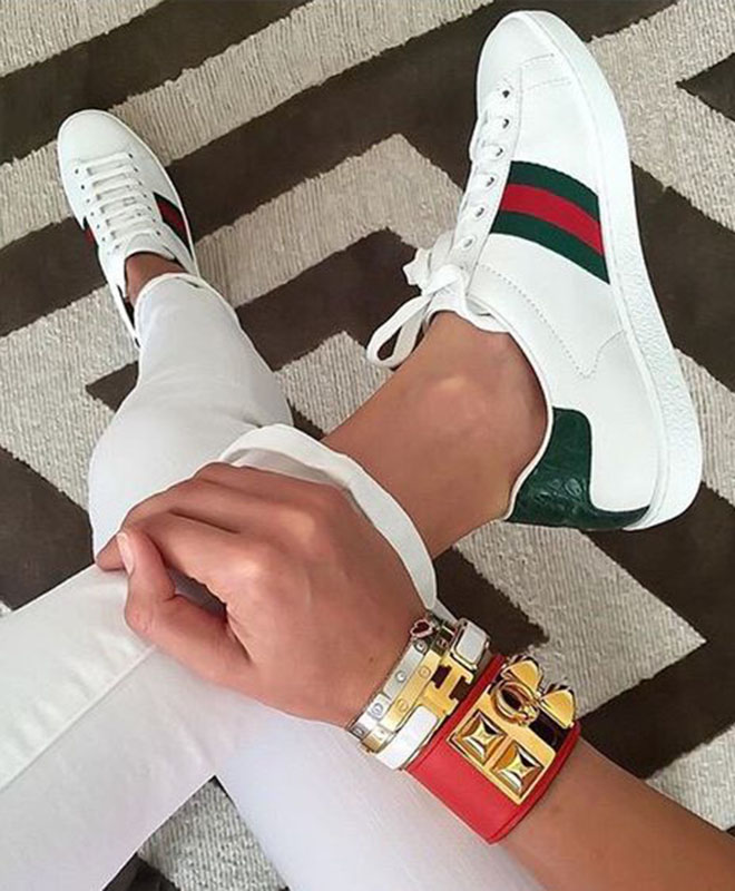 5be45d48701 GUCCI Ace watersnake-trimmed embroidered leather sneakers - Shoes Post