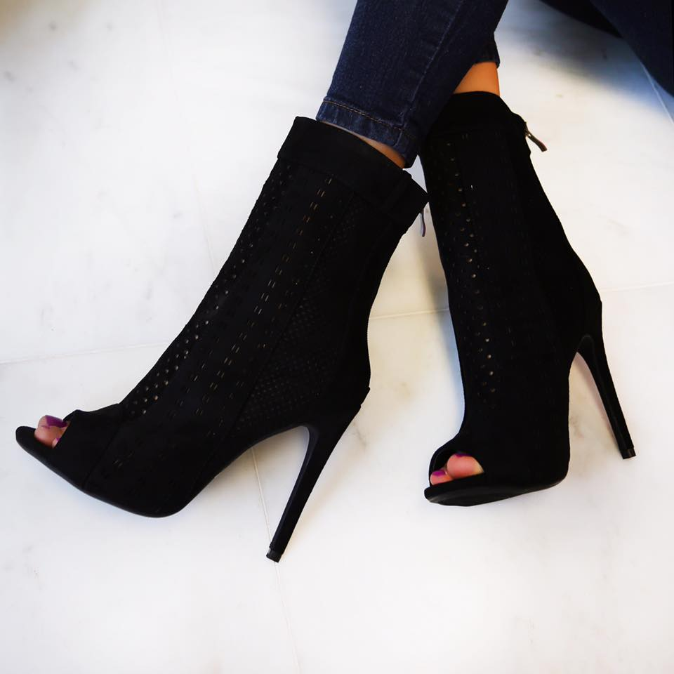 9227e2c06881 AmiClubwear Black Perforated Detail Peep Toe High Heel Booties Faux Suede