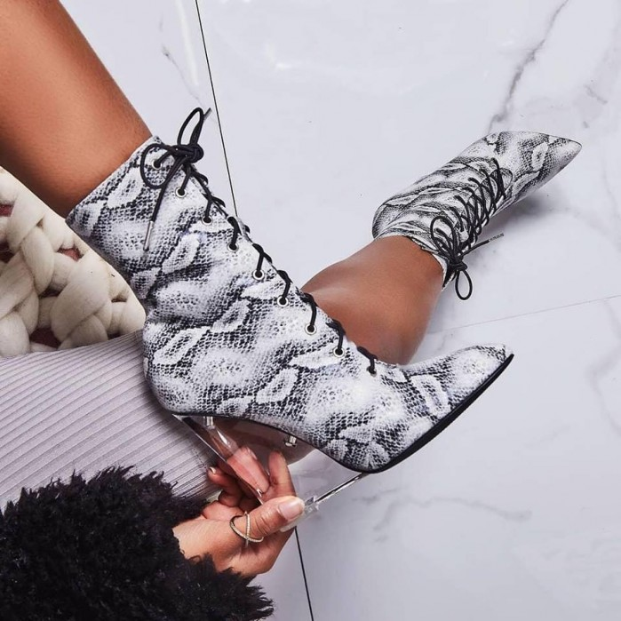 EGO Turnaround Perspex Wedge Lace Up Ankle Boot In grey Snake Print Faux  Leather
