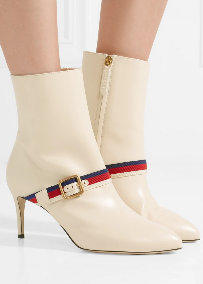 35af62a76ff GUCCI Grosgrain-trimmed leather ankle boots - Shoes Post