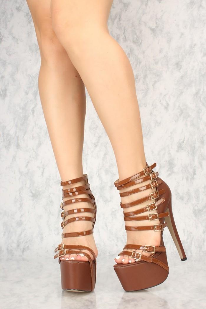 Amiclubwear Sexy Brown Strappy Platform 6 Inch Stiletto