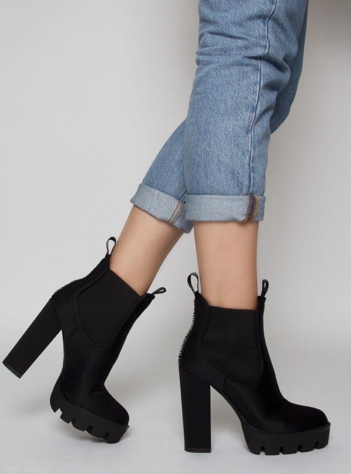 dfd611451260 SIMMI WATERLOO BLACK LYCRA LOGO PLATFORM ANKLE BOOTS - Shoes Post