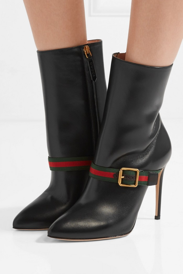 9d98b9059cc GUCCI Sylvie grosgrain-trimmed leather ankle boots - Shoes Post