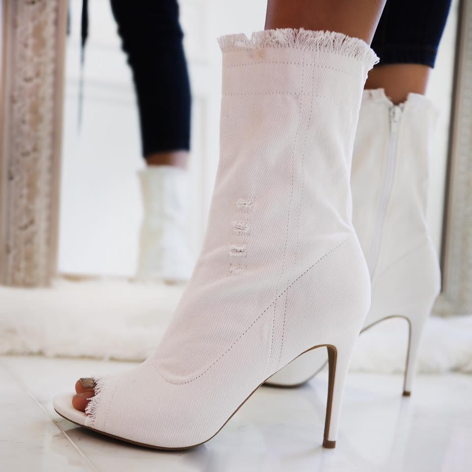 6c12246e1d80 AMICLUBWEAR Sexy White Denim Distressed Peep Toe Single Sole High Heel  Booties