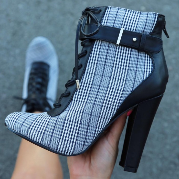 1c028dbadf7c AMICLUBWEAR Sexy Black Plaid Lace Up Chunky High Heels Booties Faux Leather