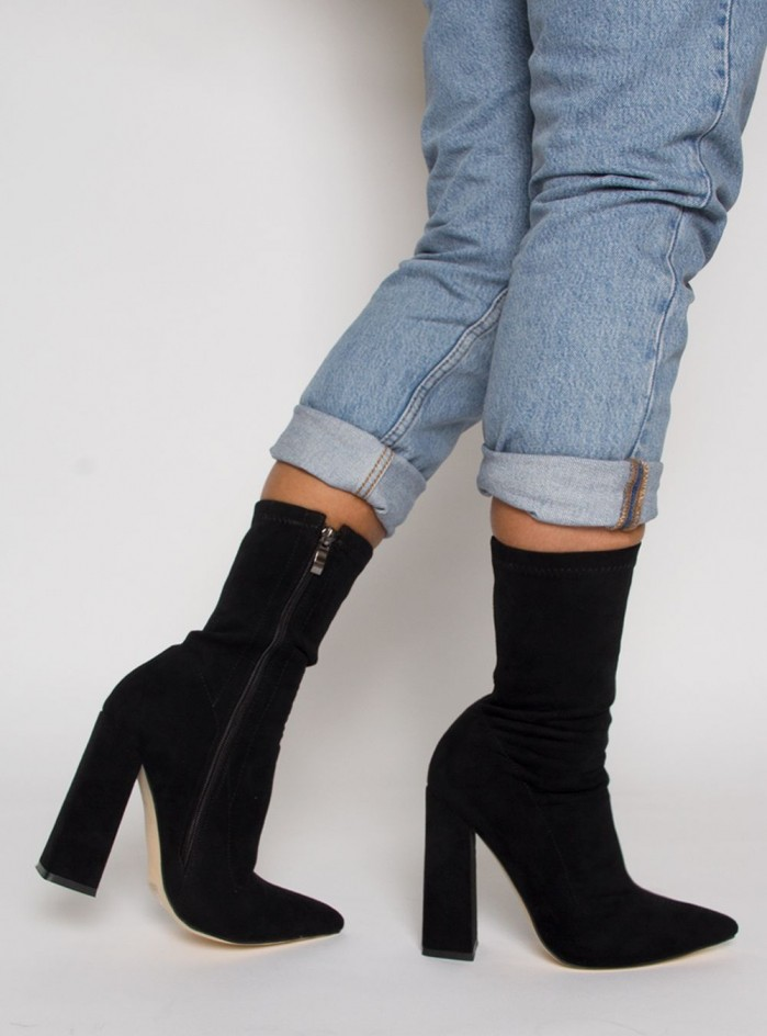 Simmi Gwen Black Suede Block Heel Ankle Boots Shoes Post