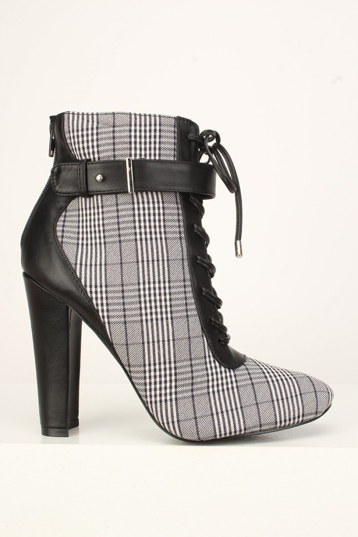 ced747fd180a3d AMICLUBWEAR Sexy Black Plaid Lace Up Chunky High Heels Booties Faux Leather