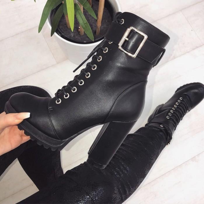 black lace up platform ankle boots